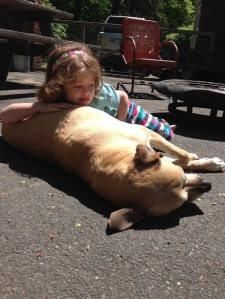 Our youngest just hanging out with the dog and thinking… just for the fun of it