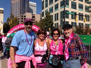 My sister, Renee and I do the 40 mile Avon Walk for Breast Cancer every year in memory of our mom, Kaleel Jamison, and many others. Last year, our brother Paul, joined us for the walk! We are pictured here with our dad, Bill Jamison.