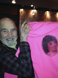 My dad holding the wonderful sweatshirts he had made for our Avon Walk Team last year!