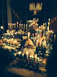 On the 8th night of Hanukkah, we light all of the menorahs in the house- my version of glitz and glam (and a small table fire last year- oops!)