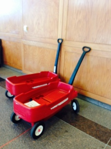 Children travel around the hospital in wagons- much more fun than wheelchairs!