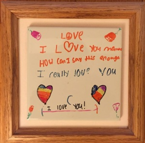 Deb shared this adorable love note from her son, Noah.
