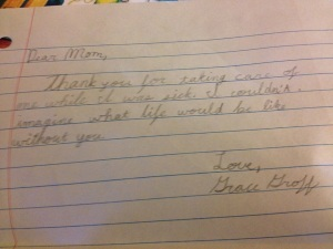 My friend, Erika's sweet note from her daughter (love the addition of her last name…)