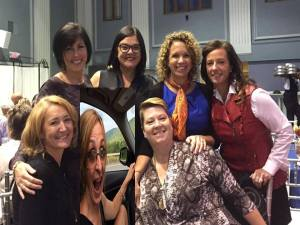 Wonderful friends who speak only kind words to and about one another at a Make a Wish luncheon recognizing the volunteerism and contribution of Kiki Wagner. Note Sabrina Mosseau (of Mammos and Ammo and Grammies and Mammies) couldn't make the event, so she joined from her… ummmm…. car?